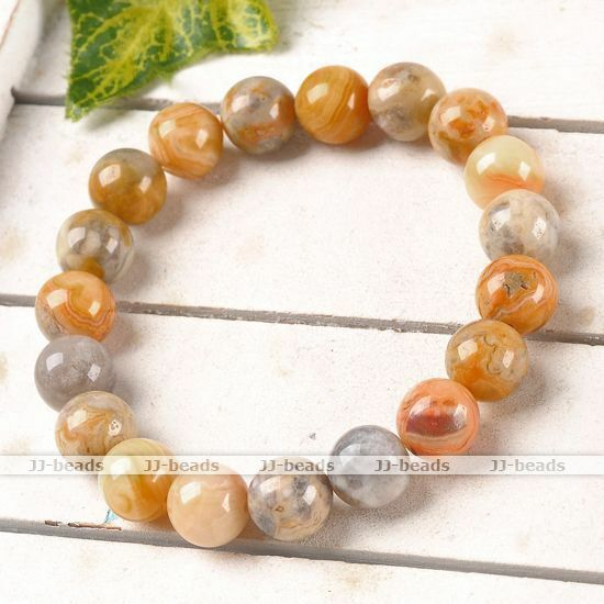 1pc 10mm Crazy Agate Gemstone Round Beads Healing Point Stretchy Bangle Bracelet
