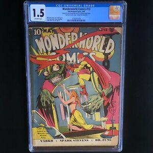 Wonderworld-Comics-13-CGC-1-5-OW-Classic-Joe-Simon-Cover-1940-FOX-RARE