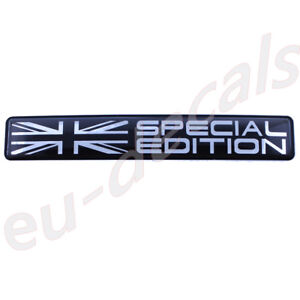 Union-Jack-flag-Special-Edition-Black-Chrome-badge-3D-Decal-domed-5-1-034-130mm