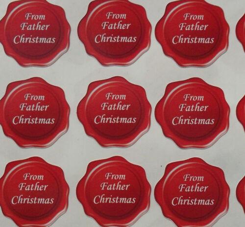 De Père Cadeau de Noël et carte étiquettes Sceaux cachet de cire effet FC