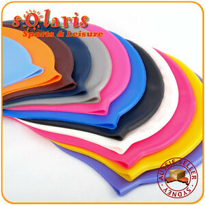 1x Silicone Swim Cap Single Colored One Size Fit All for Adult and Teenagers
