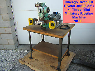 "Chicago Rivet 560 Riveter .088 (3/32"") 4"" Throat Mini Miniature Riveting Machine"