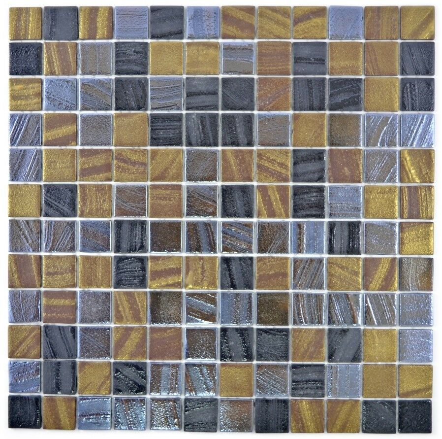 Mosaik Fliese ECO Recycling GLAS ECO schwarz anthrazit satin|360-357_f|10Matten