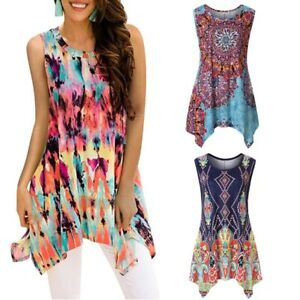 Womens-t-shirt-ladies-casual-tops-floral-vest-blouse-sleeveless-loose-crew-neck