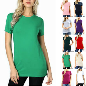 SHORT-SLEEVE-CREW-NECK-Basic-Women-T-Shirt-Cotton-Long-Top-Fitted-Plain-Stretch
