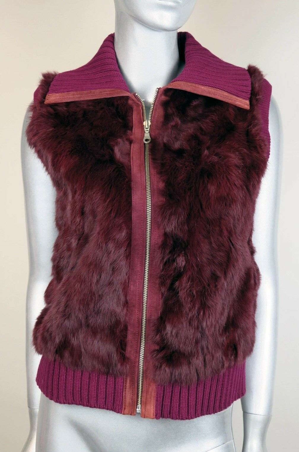 Wilsons Maxima Maroon Genuine Rabbit Fur Vest w Leather Leather Leather Suede Trim Women's Large ea408a