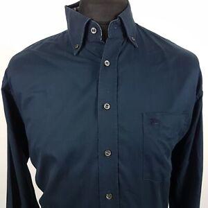 Burberry-Camisa-Grande-para-Hombre-Manga-Larga-Azul-Regular-Fit-no-patron-de-algodon