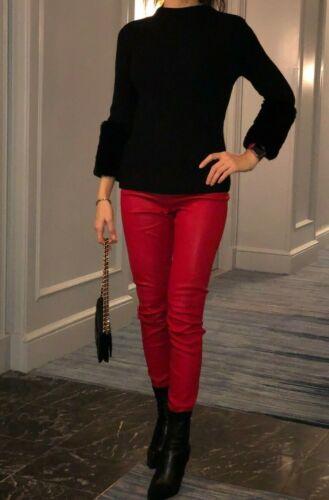 100% Leather Pants, red, size S, Designer L'Academ