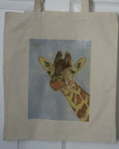 Giraffe-Original-Artwork-on-Canvas-and-Cotton-Bags-2-designs-Pencil-or-Pastels