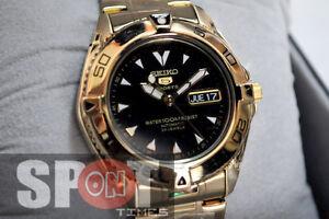 6720e0204 Seiko 5 Automatic Black Dial Gold Tone Men's Watch SNZB36K1 | eBay