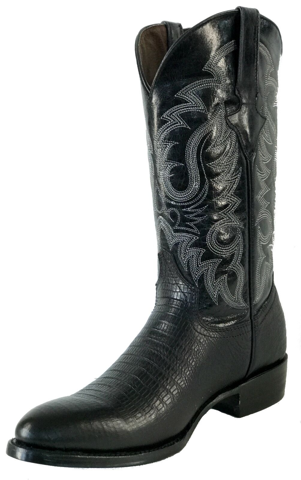 Men's New Leather Exotic Lizard Design Rodeo Western Cowboy Boots R Toe  Black