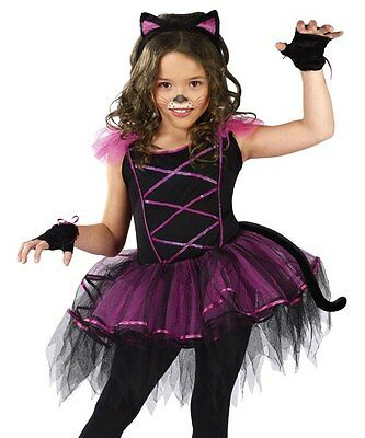 Girls Punk Kitty Cat Ballerina Kids Halloween Costume