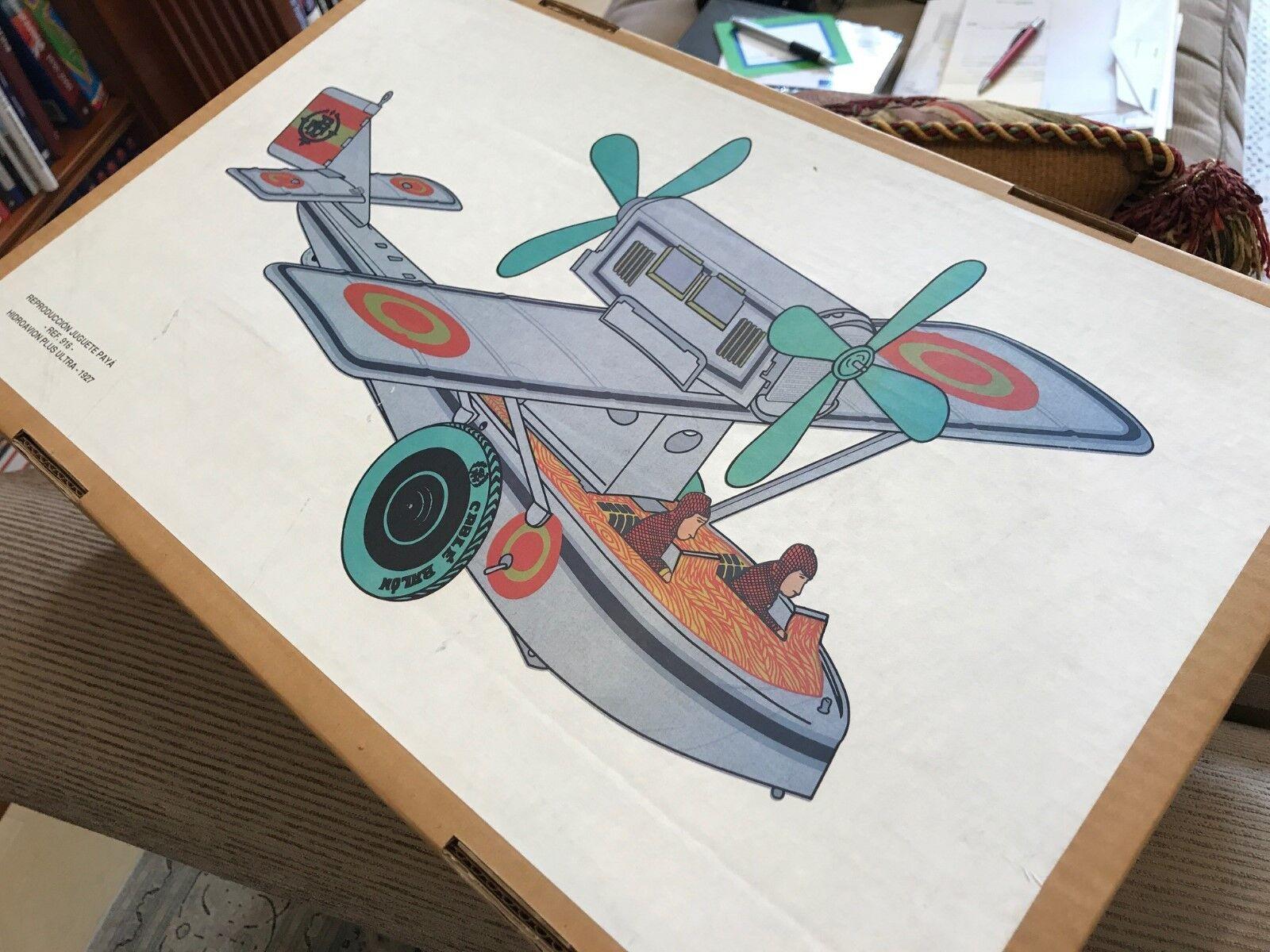 Vintage Paya   MIB   1927 Hidroavion Plus Ultra   Stampato Scatola di Latta