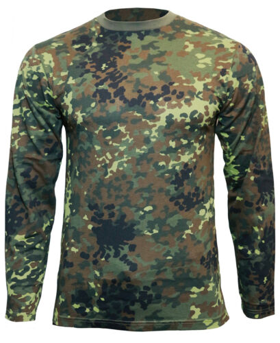 100/% Cotton Army Military Top New Flecktarn Camo Long Sleeved T-Shirt