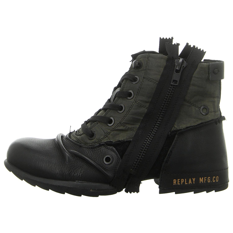 REPLAY Schuhe Stiefel Stiefelette CLUTCH GMU01.000.C0003L-1659 schwarz mil grn