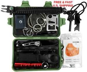 SURVIVAL KIT 35 Essential Pieces Mulit-tool  Fire Starter Led Light WATER TIGHT  classic fashion