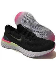 Nike-Epic-React-Flyknit-2-Black-Black-Sapphire-Size-7Y-Womans-8-5-AQ3243-003