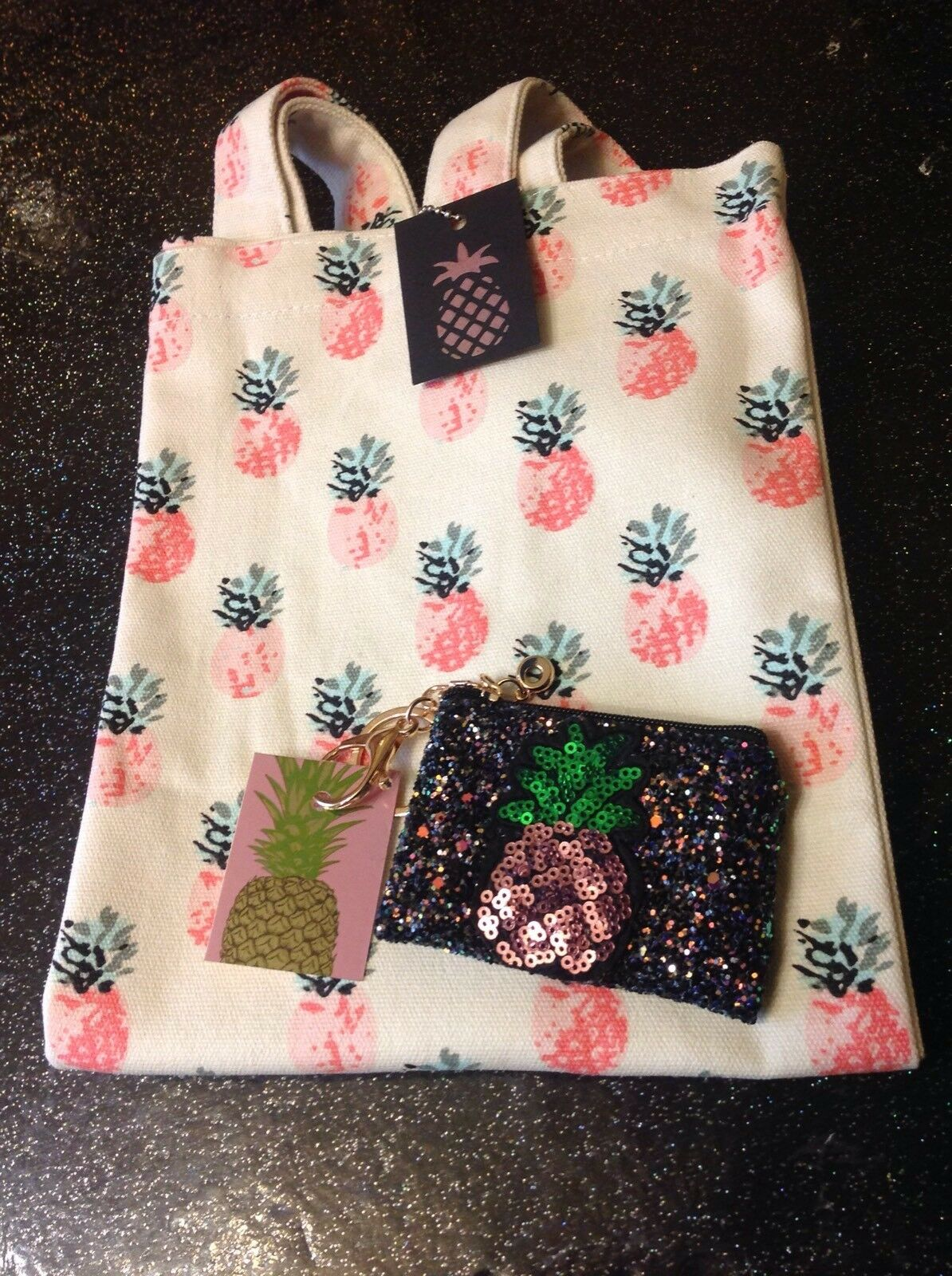 retro tiki pink🍍pineapple Canvas tote bag +Sequin Coin Purse 2 Piece Gift Set