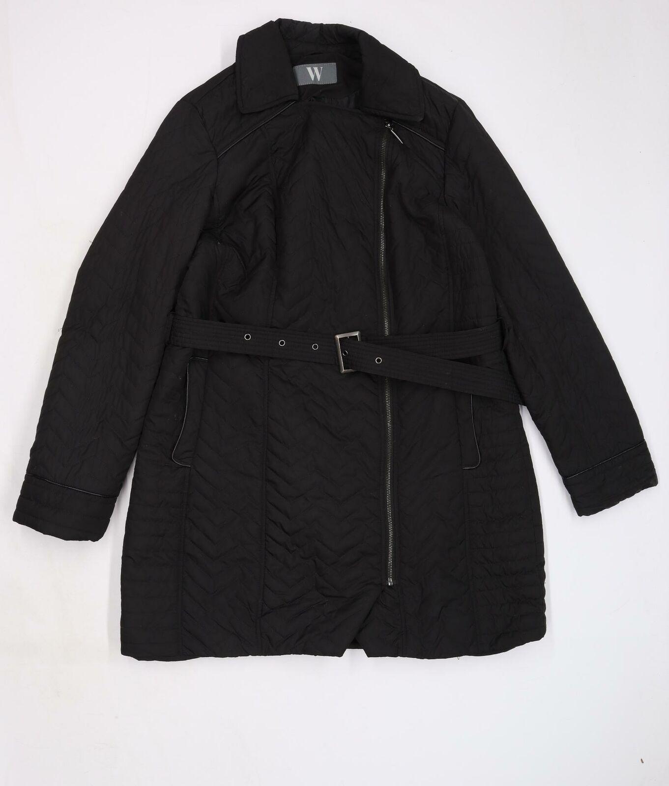BHS Womens Black Overcoat Coat Size 16