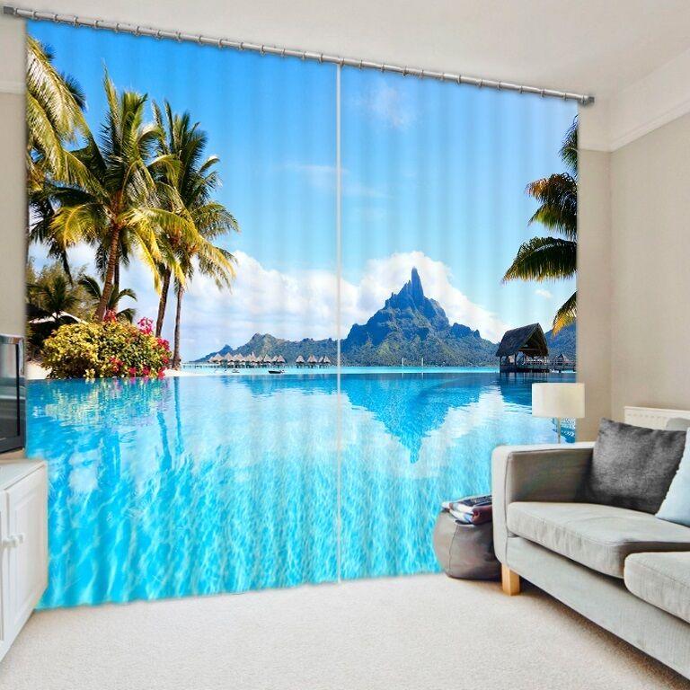Cortina de Panel de 2 3D conjunto estilo apagón Ocean View con montañas