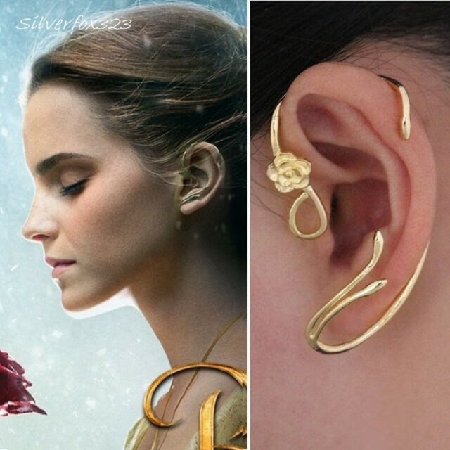 Emma Beauty And The Beast Belle Rose Earrings Gold Copper Stretchable Gift Box