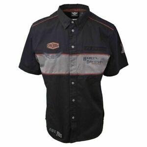 Harley-Davidson-Men-039-s-Black-Iron-Block-Short-Sleeve-Woven-Shirt-S02