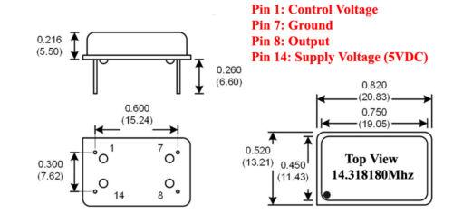 Crystal Clock Oscillators 14.318180Mhz 2//Lot Build a QRP 20 Meter Transmitter!