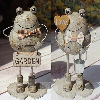 Cute Garden Decoration Ornaments Pastoral Style Antique Iron Frogs Set Home Art
