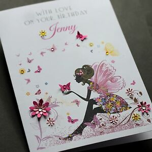 Large A5 Handmade Personalised Fairy Birthday Card Sister