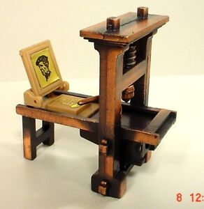 Printing Press Miniature Diecast Antique Style 1/24 Scale G Diorama Accessory