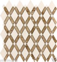 Diamond Polished Travertine & White Limestone Marble Kitchen Bath Mosaic- 1 Tile