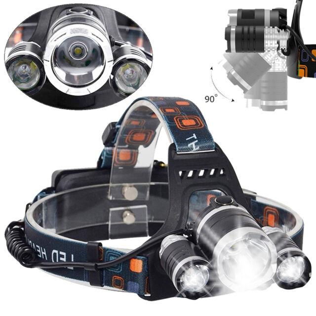 Profi Police LED Cree Stirnlampe Kopflampe M2-Tec 8000LM 3x XM-L 2x Power Akku