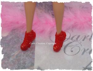 Fashion-Chaussure-Rouge-Barbie-Poupee-Mannequin-Dress-Princesse-Mode-Tres-chic