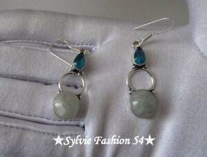 Belles-Boucles-d-039-oreilles-argent-plaque-925-Pierre-de-lune-bleu-quartz