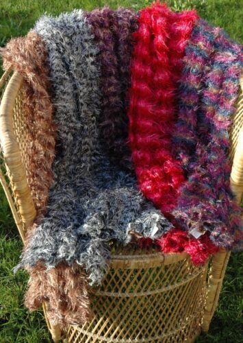 Tubular Knit Fluffy Stretch Scarves Eyelash Snood Scarf Warp Choice of Colours