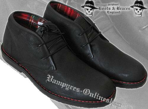 bottes and Jambes 2-Trou 2012er Washed Noir Cuir Chaussures basses