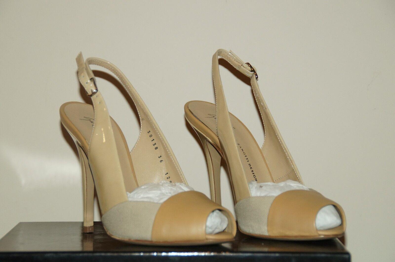 Giuseppe Zanotti Kalifa US 6 EU 36 Peep-Toe Leather Slingback Pump shoes NIB