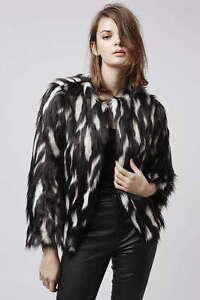 Womens Bnwt Size Shaggy Cream Donna Jacket Black Fur 12 Faux Topshop 10 Coat BB1wWgqrv6