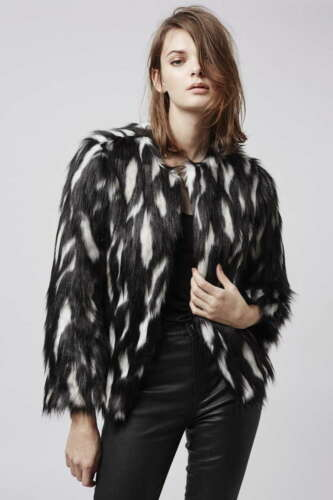 Bnwt Jacket 12 Size Shaggy Fur Topshop Faux Black Coat 10 Donna Womens Cream F4qwrxF10