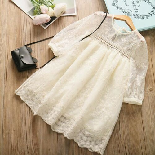 Toddler Baby Kids Dress Girls Lace Patchwork Solid Princess Dress Skirt Clothes