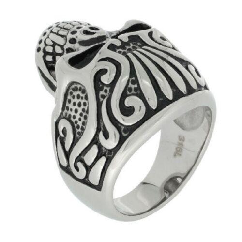 Stainless Steel Gothic Biker Ring Vampire Skull w// Tribal Tattoos