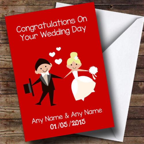 Rouge Profond blonde mariée DOODLE Personnalisé Mariage Carte de vœux