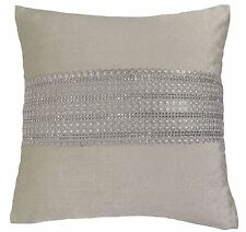 "FILLED CREAM CRYSTAL FAUX SILK CHENILLE DIAMANTES THICK CUSHION 17"" - 43CM #TIR"