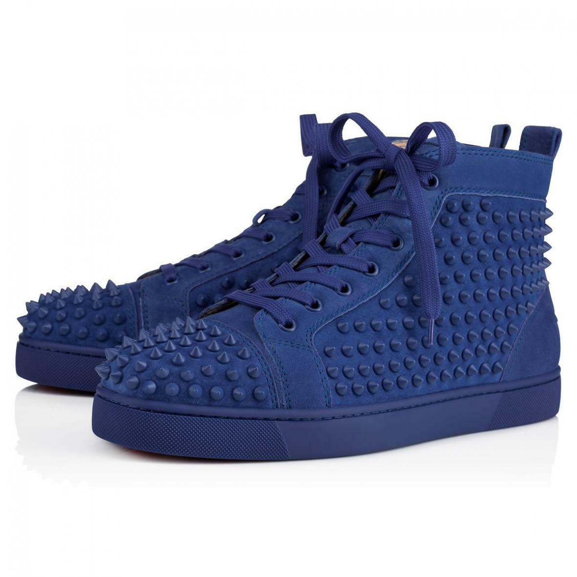 NIB Christian Louboutin Louis Flat Mens Azzurro bluee Spike High Top Sneaker 42