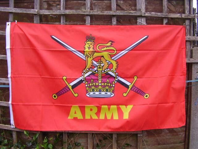 BRITISH ARMY Famous Crossed Swords/Lion/Crown Motif Red Military Flag - PARA/SAS