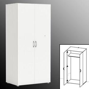 Kleiderschrank 5057 Weiss 166x80x51cm Schlafzimmer Schrank Garderobe