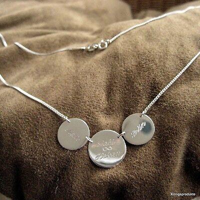 Gravurplattenkette, 3 Gravurplatten, 925er Silber, Unendlich, Namenskette, GK-48