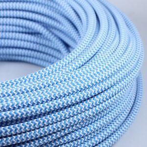 Cable Electrique Chevron Bleu Clair Blanc Textile Tissu Rond Normes