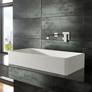 80cm By 40cm Rectangular Solid Surface White Counter Top Bathroom Sink Basin Ebay