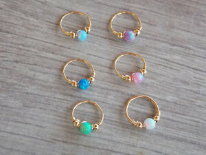 88a41276d0e41 Details about Opal cartilage piercing opal tiny hoop body jewelry helix  hoop tragus nose ring